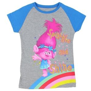 NWT Trolls Sparkly Poppy Rainbow Gray Base…